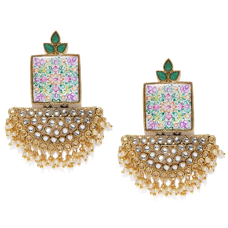 SUKKHI | Sukkhi Astonish Kundan Gold Plated Pearl Chandelier Earring for Women
