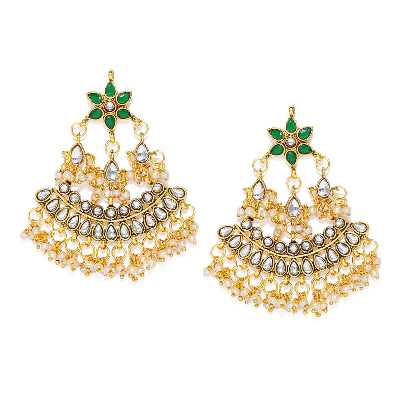 SUKKHI | Sukkhi Excellent Kundan Gold Plated Pearl Chandelier Earring for Women