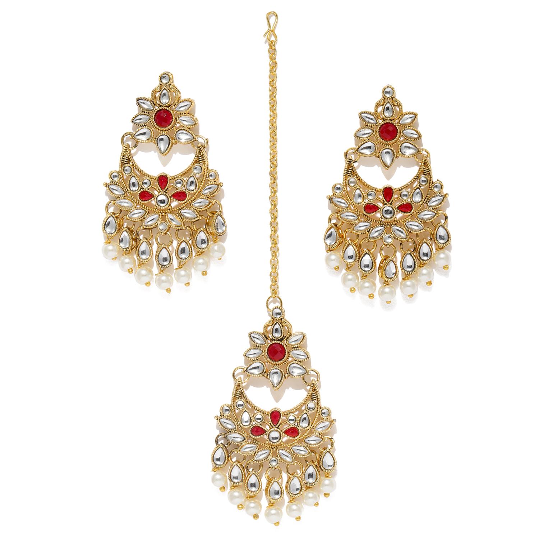 SUKKHI | Sukkhi Stunning Pearl Gold Plated Kundan Chandelier Earring Maangtikka Set for Women