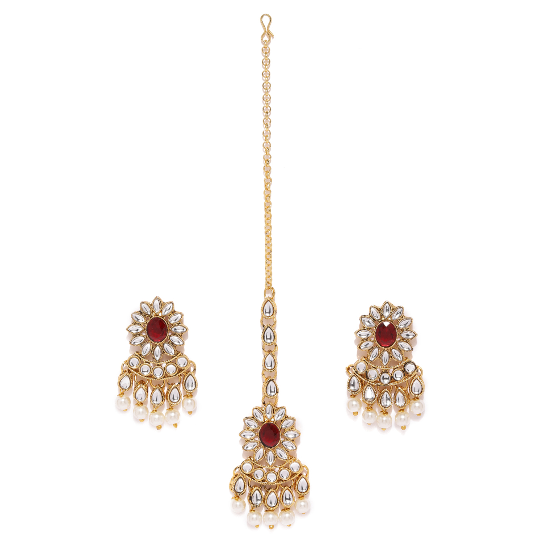SUKKHI | Sukkhi Elegant Pearl Gold Plated Kundan Dangle Earring Maangtikka Set for Women