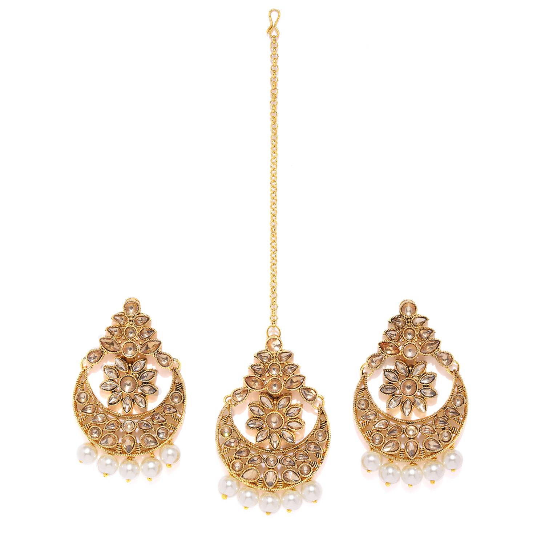 SUKKHI | Sukkhi Incredible LCT Gold Plated Pearl Chandbali Earring Maangtikka Set for Women