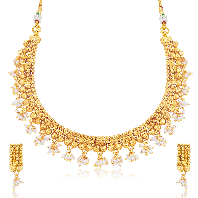 SUKKHI | Sukkhi Glorious Pearl Gold Plated Choker Necklace Set For Women