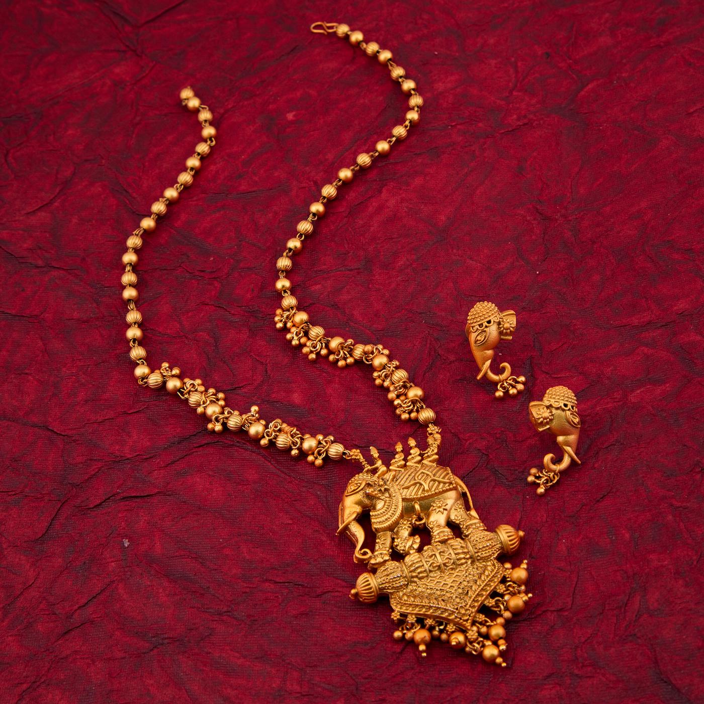 SUKKHI | Sukkhi Bahubali Matte Finished Gold Plated Long Haram Necklace Set For Women