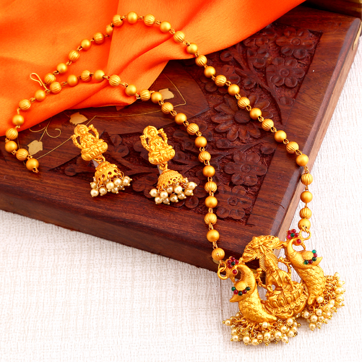 SUKKHI | Sukkhi Marvellous Laxmi Gold Plated Temple Jewellery Pearl Long Haram Necklace Set For Women