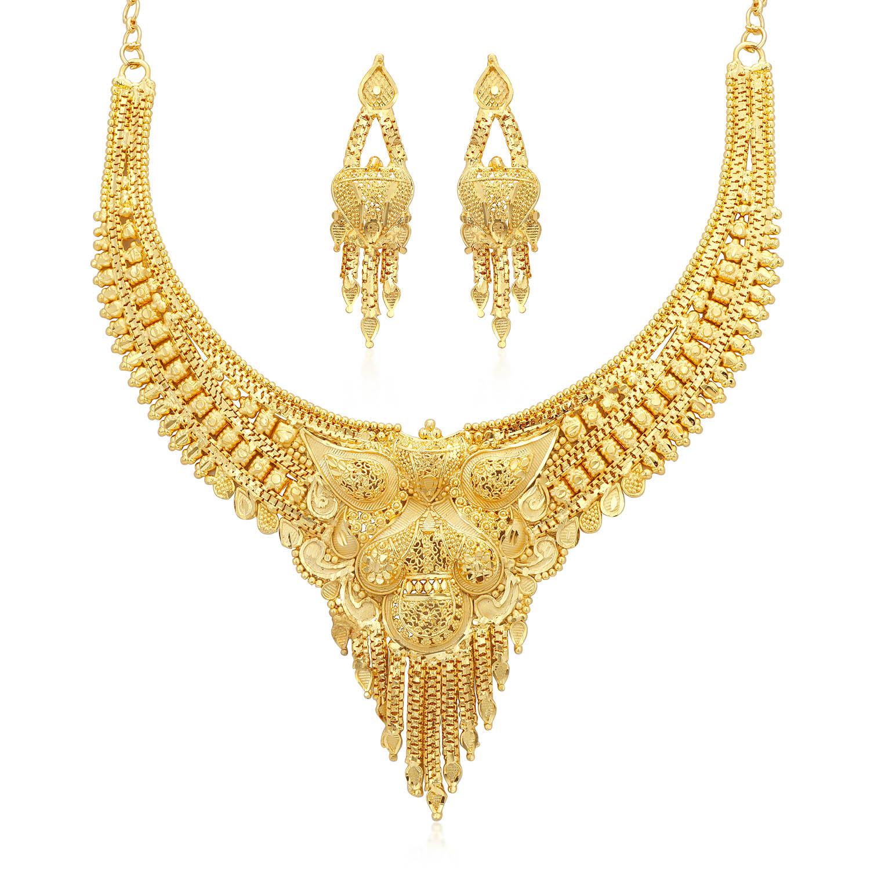 SUKKHI | Sukkhi Designer 24 Carat Gold Plated Choker Necklace Set for Women