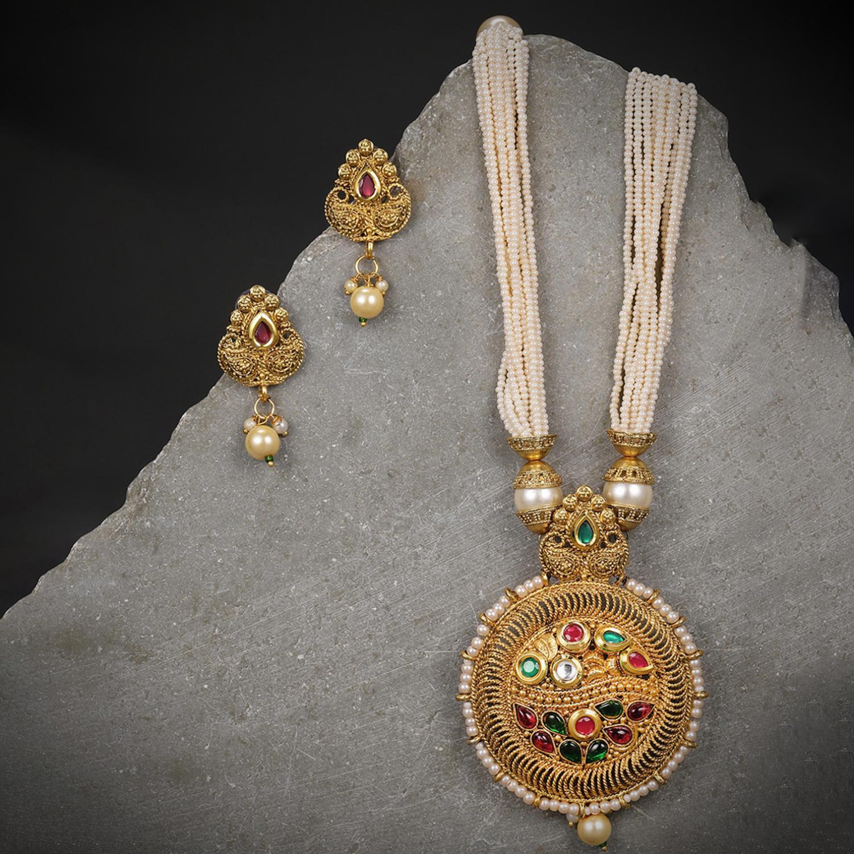 SUKKHI | Sukkhi Pleasing Gold Plated Pearl Neckalce Set for Women