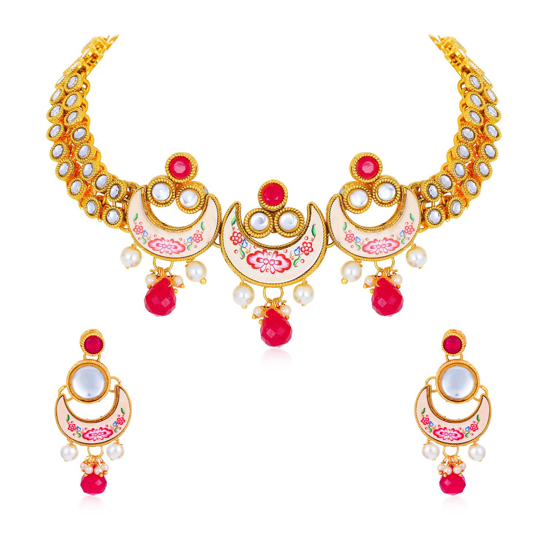 SUKKHI   Sukkhi Excellent Gold Plated Necklace Set for Women