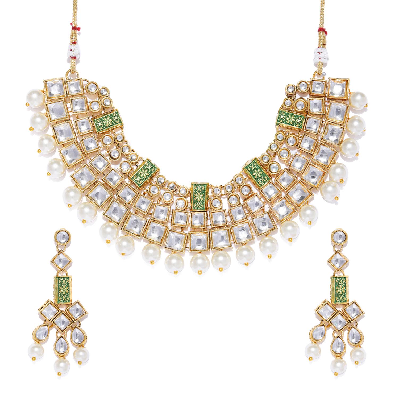 SUKKHI   Sukkhi Dazzling Pearl Gold Plated Kundan Mint Collection Choker Necklace Set for Women