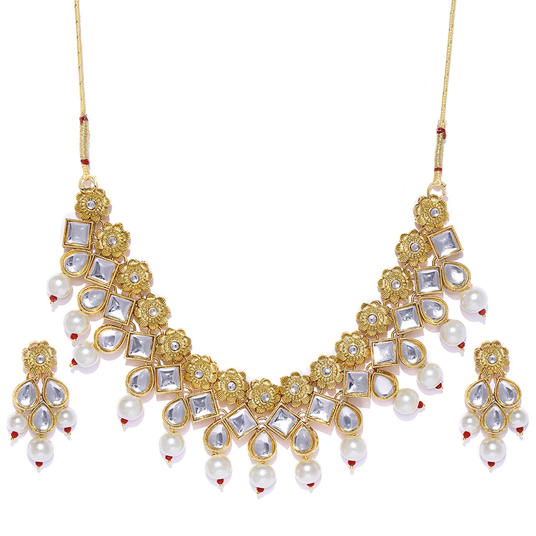 SUKKHI | Sukkhi Elegant Pearl Gold Plated Kundan Floral Choker Necklace Set for Women