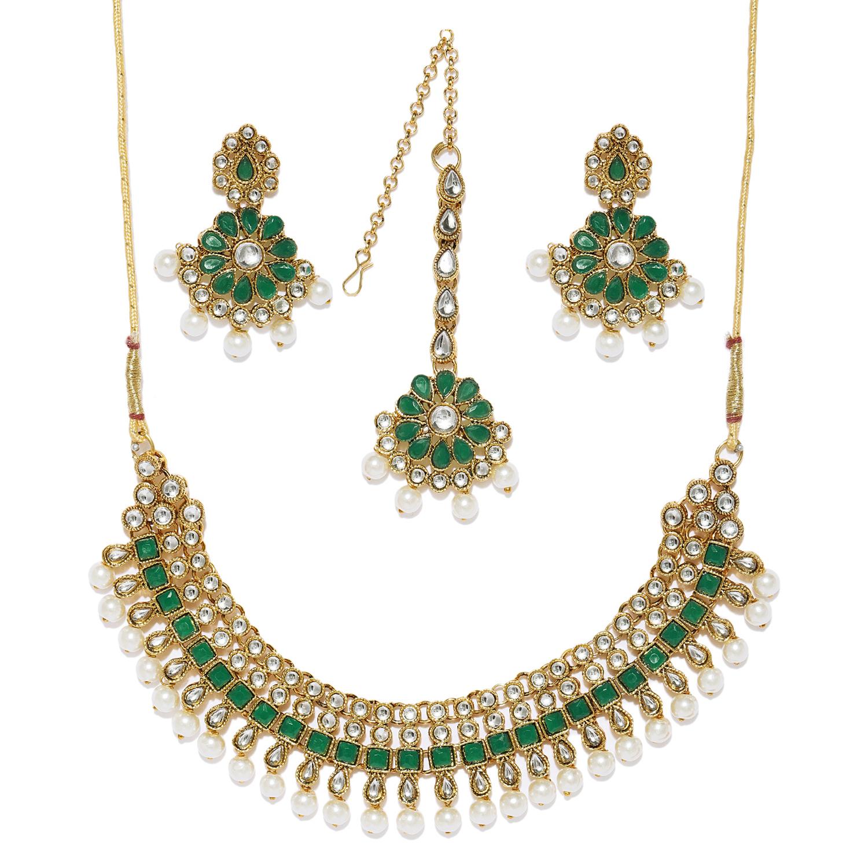 SUKKHI   Sukkhi Antique Pearl Gold Plated Kundan Choker Necklace Set for Women