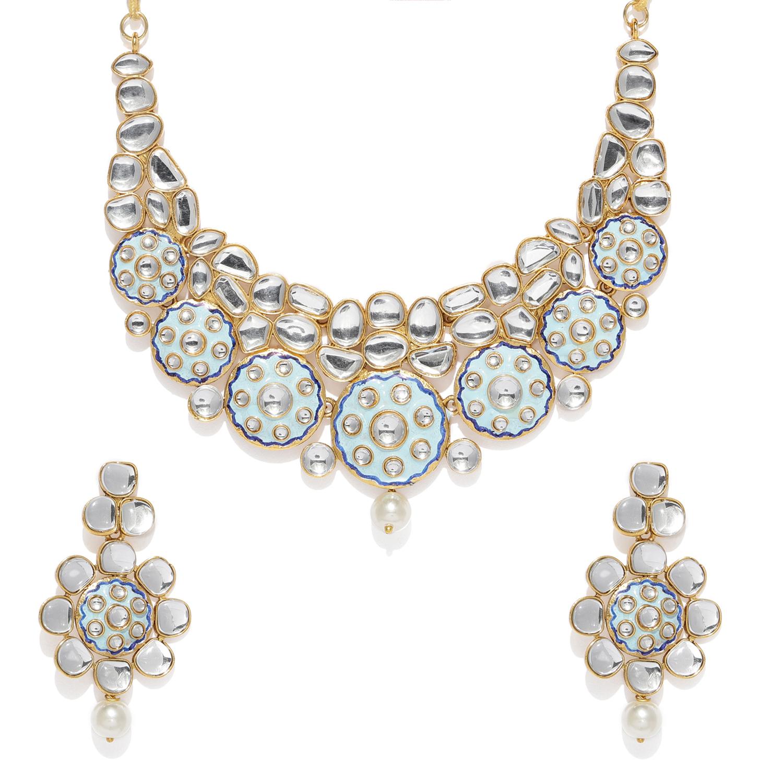 SUKKHI   Sukkhi Eye-Catching Gold Plated Kundan Meenakari Choker Necklace Set for Women
