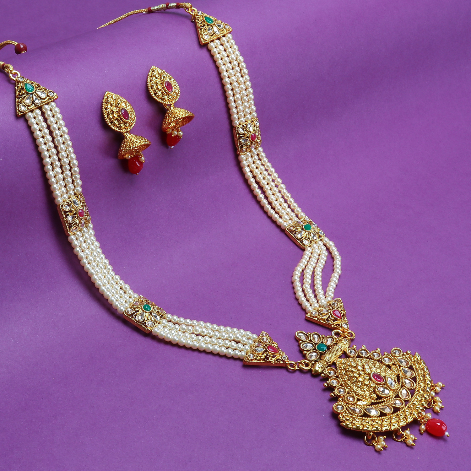 SUKKHI | Sukkhi Classic Pearl Gold Plated Long Haram Necklace Set For Women