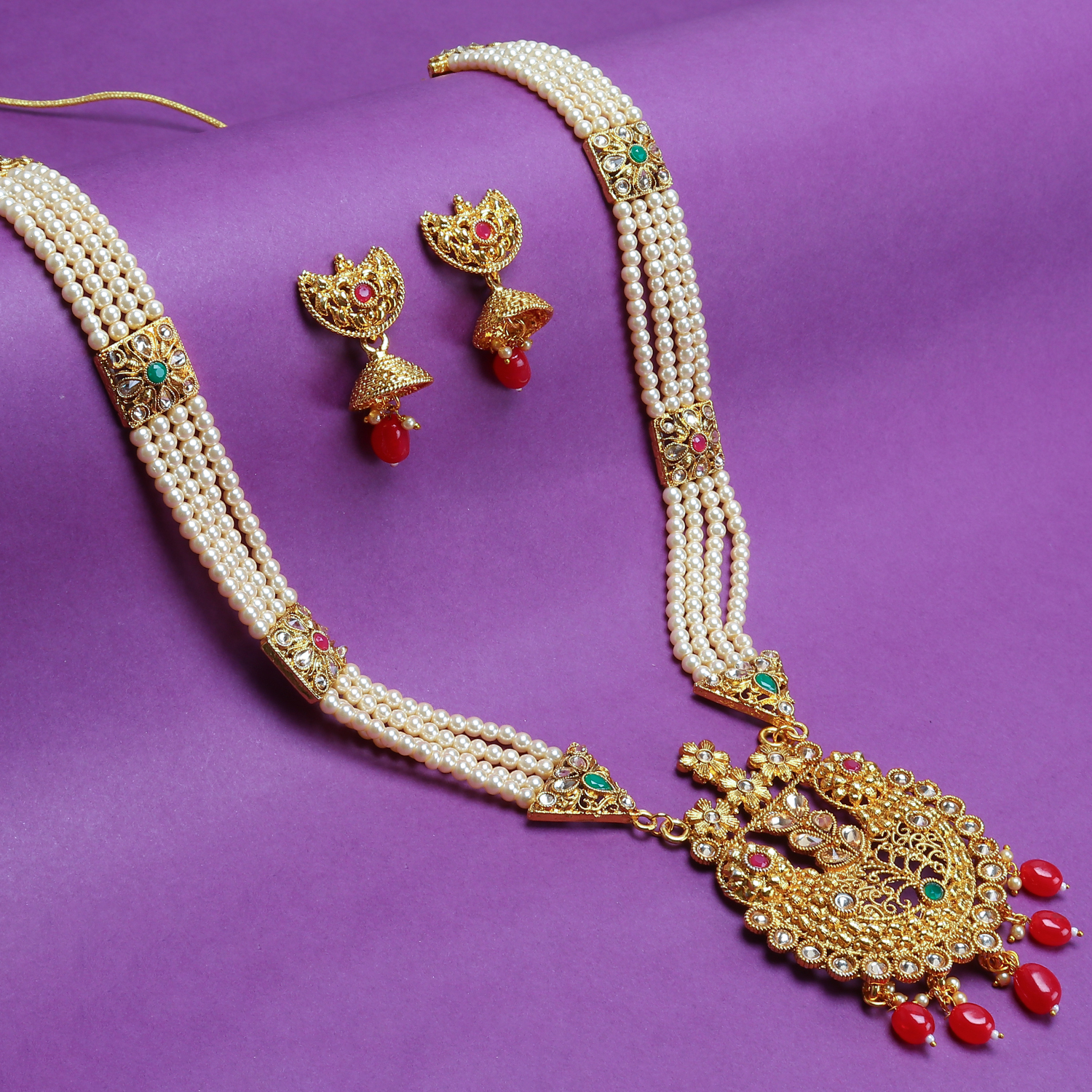 SUKKHI | Sukkhi Floral Pearl Gold Plated Long Haram Necklace Set For Women
