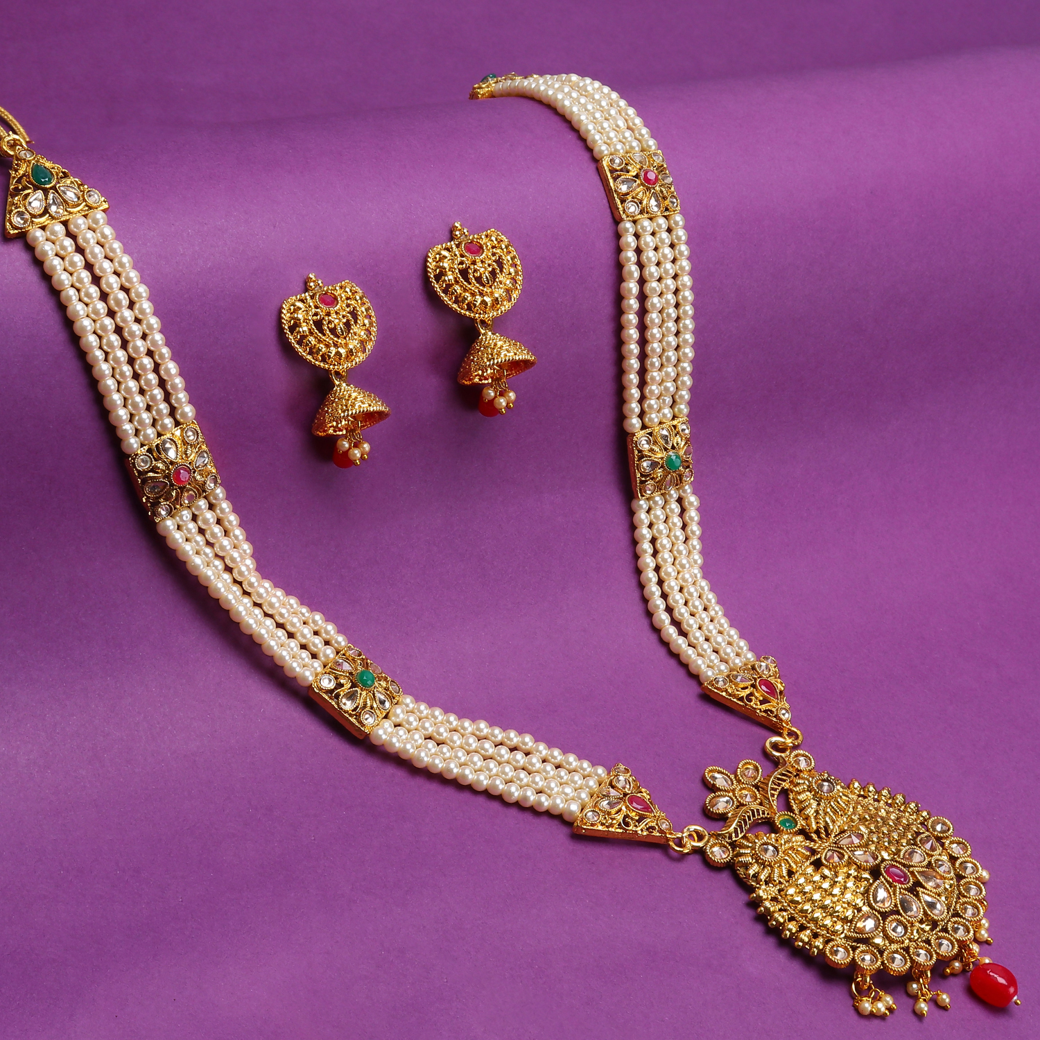 SUKKHI | Sukkhi Dazzling LCT Gold Plated Pearl Long Haram Necklace Set For Women