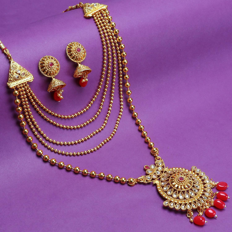SUKKHI | Sukkhi Gleaming Gold Plated LCT Stone Long Haram Necklace Set For Women