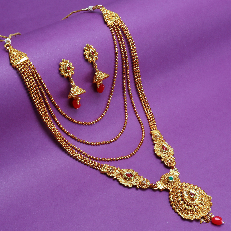 SUKKHI | Sukkhi Splendid Gold Plated Long Haram Necklace Set For Women