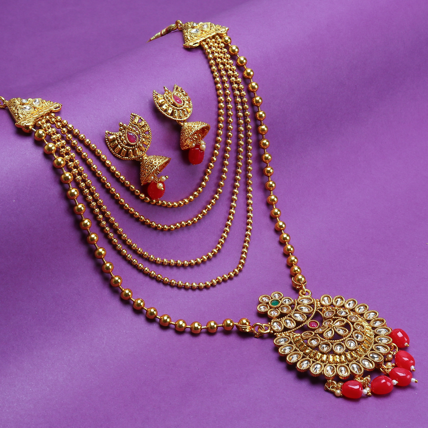 SUKKHI | Sukkhi Floral LCT Gold Plated Long Haram Necklace Set For Women