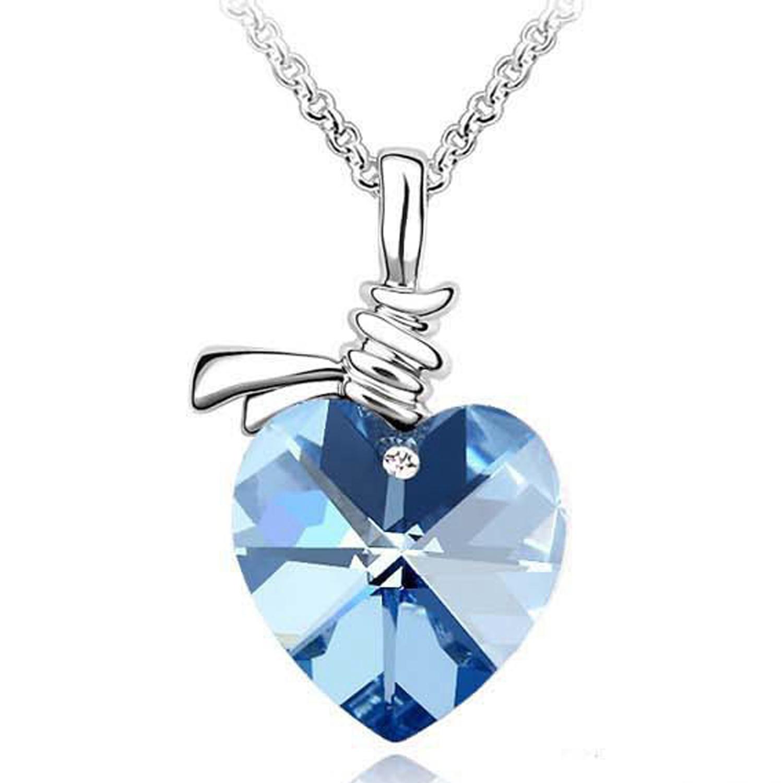SUKKHI | Sukkhi Ritzy Valentine Heart Crystals from Swarovski Rhodium Plated Pendant for Women