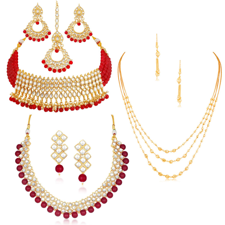 SUKKHI | Sukkhi Sensational Pearl Gold Plated Kundan Set of 3 Necklace Combo for Women
