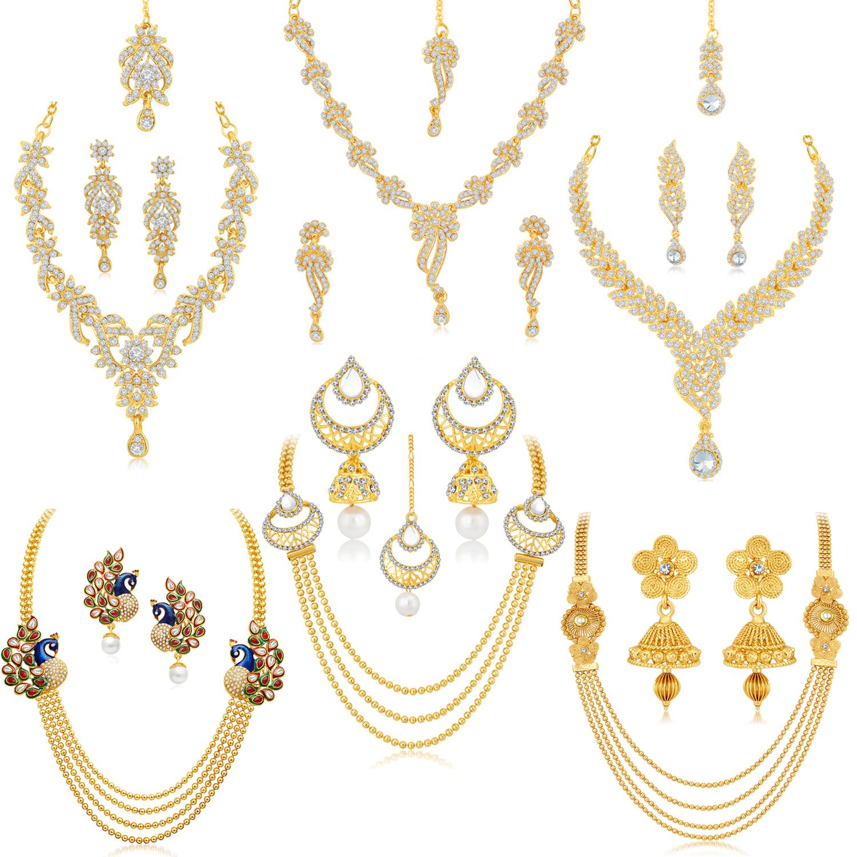 SUKKHI | Sukkhi Glorious Pearl Gold Plated Austrian Diamond Peacock Meenakari Set of 6 Necklace Combo for Women