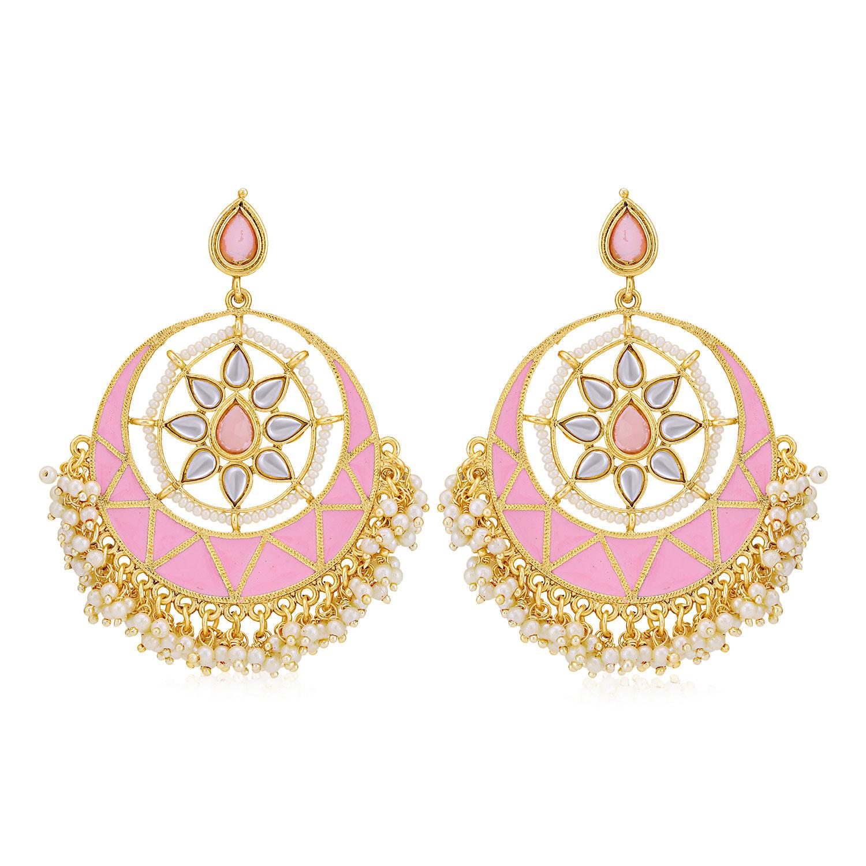 SUKKHI | Sukkhi Dazzling Pearl Gold Plated Kundan Meenakari Chandbali Earring for Women