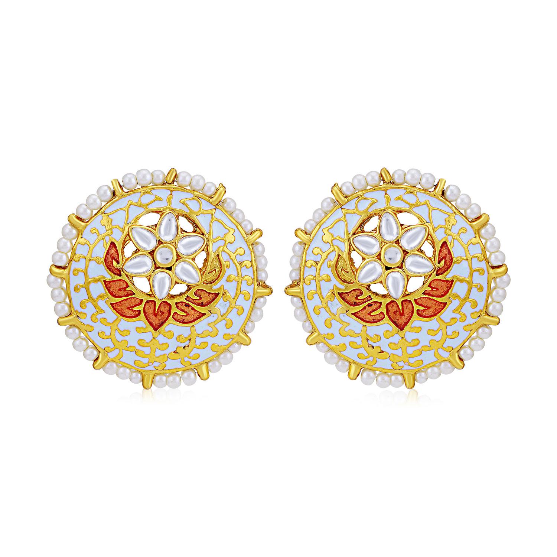 SUKKHI | Sukkhi Alluring Pearl Gold Plated Kundan Meenakari Stud Earring for Women