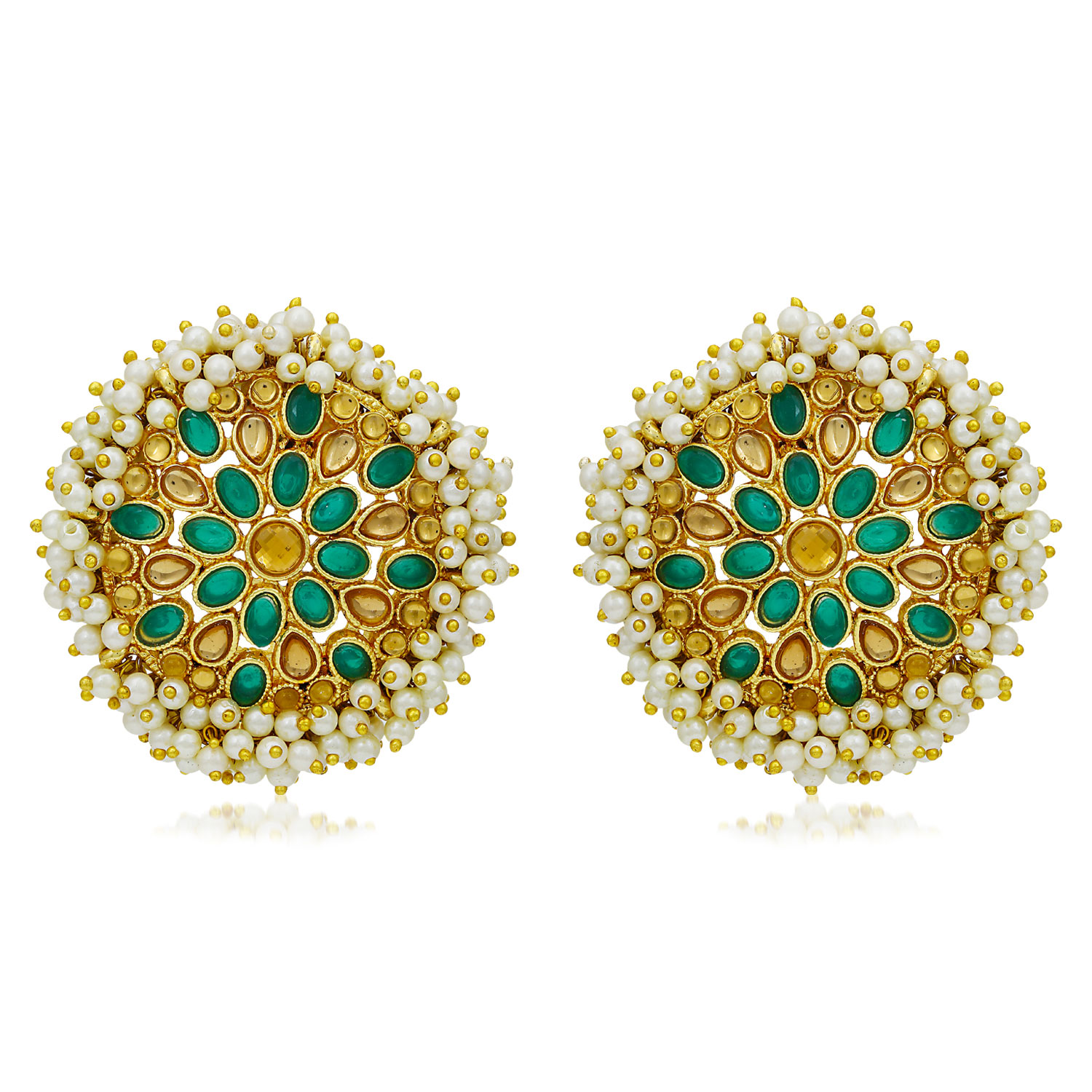 SUKKHI   Sukkhi Adorable Gold Plated LCT & Pearl Stud Earring for Women