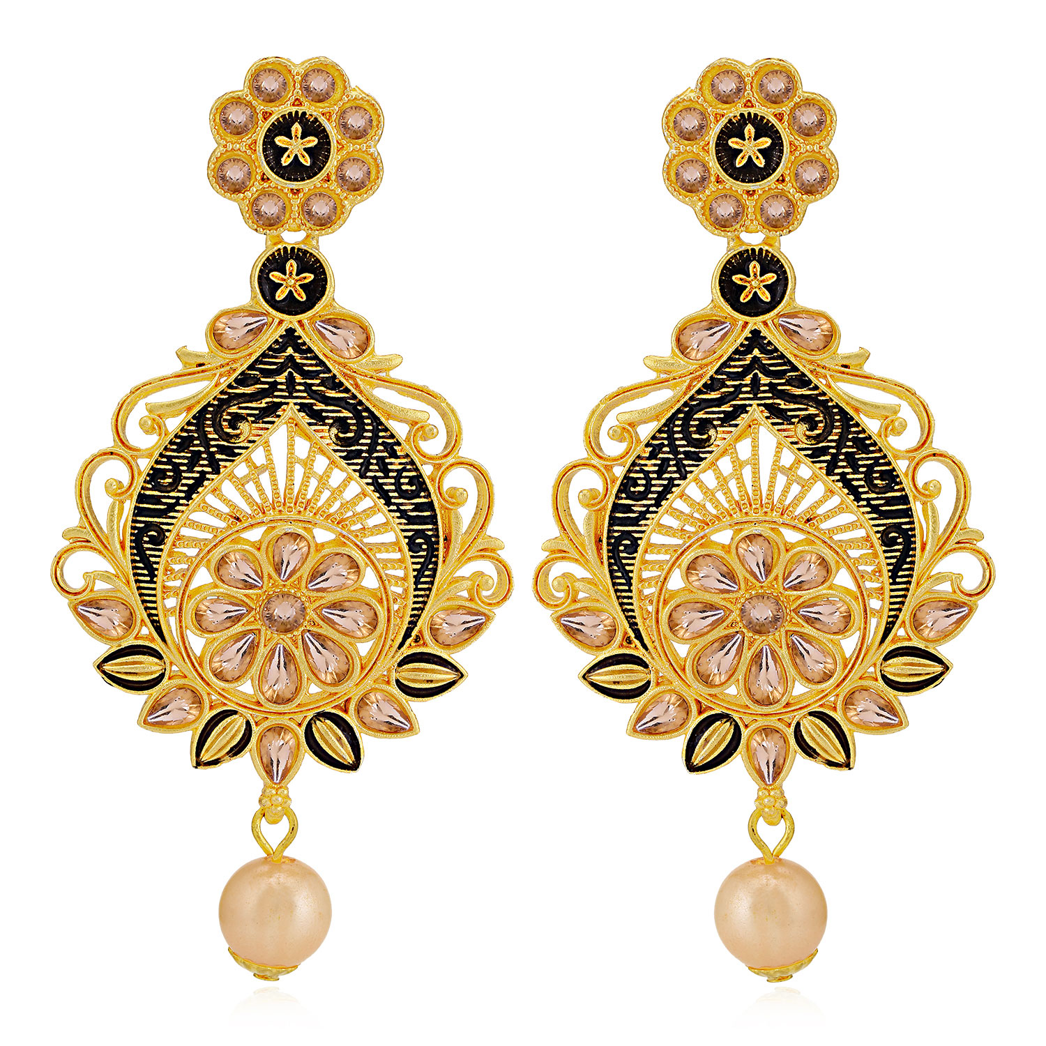 SUKKHI | Sukkhi Spectacular LCT Gold Plated Pearl Chandelier Earring For Women