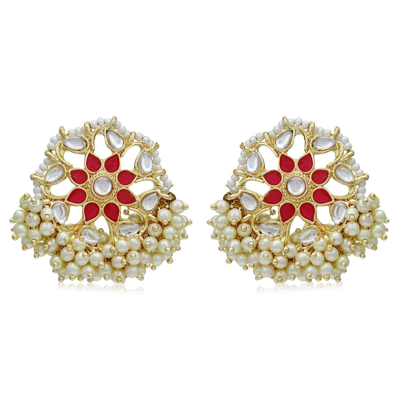 SUKKHI | Sukkhi Trendy Gold Plated Kundan & Pearl Stud Earring for Women