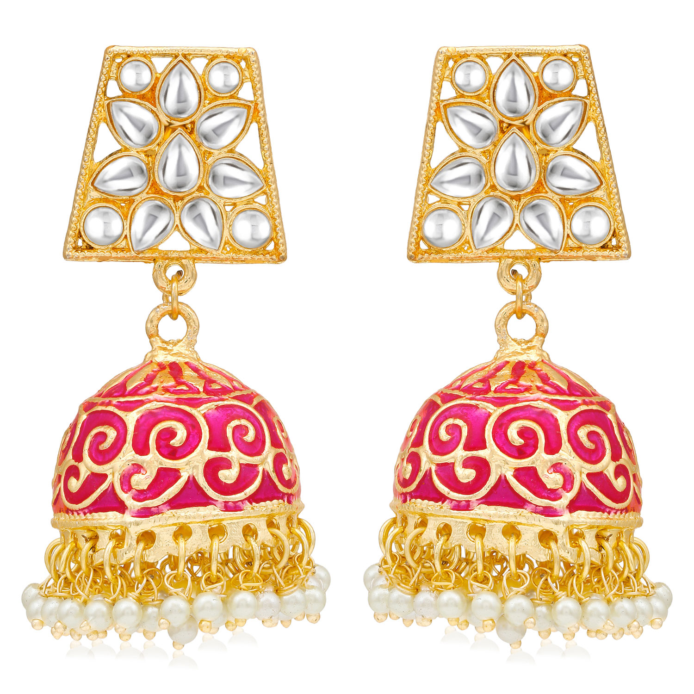SUKKHI | Sukkhi Gorgeous Pearl Gold Plated Kundan Meenakari Jhumki Earring for Women