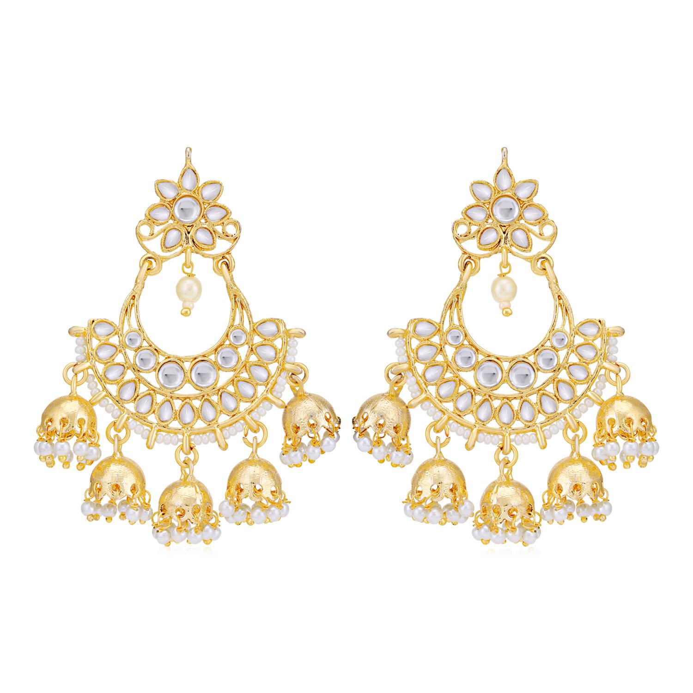 SUKKHI | Sukkhi Stunning Gold Plated Kundan & Pearl Chandelier Earring for Women