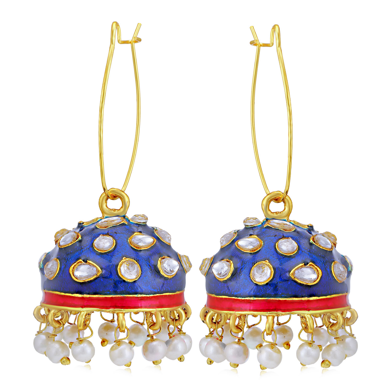 SUKKHI | Sukkhi Modern Pearl Gold Plated Kundan Meenakari Jhumki Earring for Women