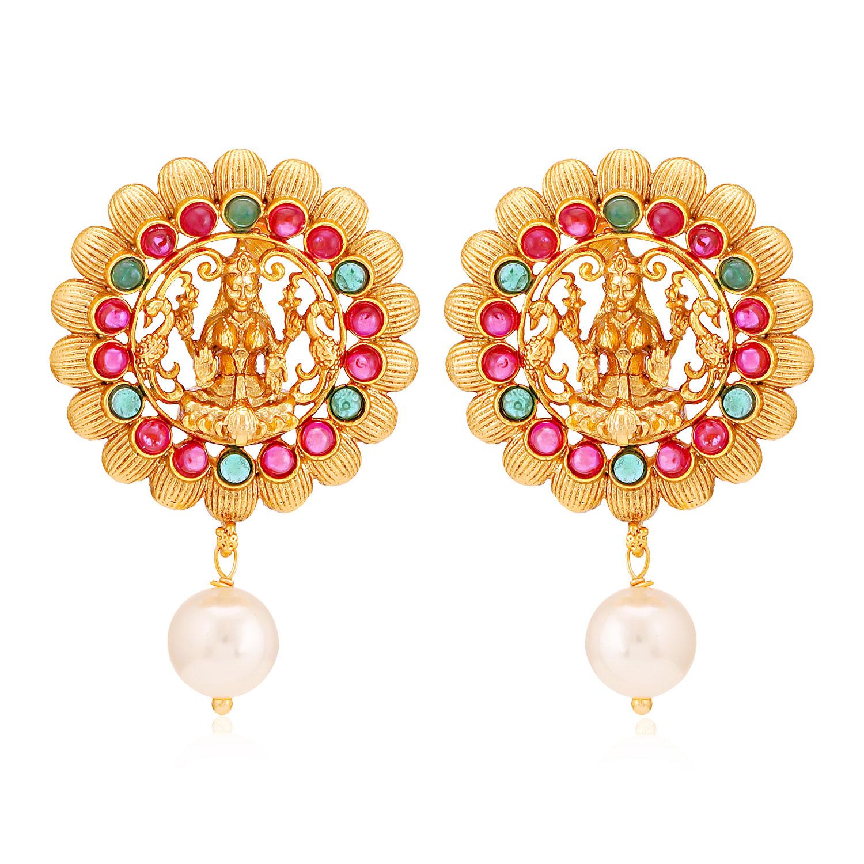 SUKKHI   Sukkhi Sober Gold Plated Goddess Laxmi Earring for Women