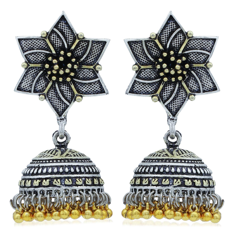 SUKKHI | Sukkhi Floral Oxidised Jhumki Earring For Women