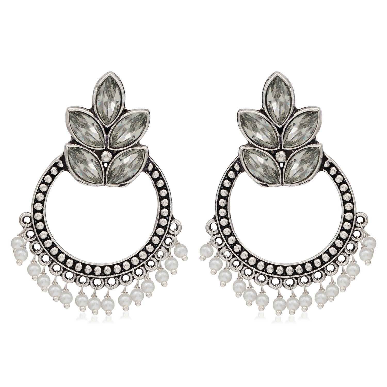 SUKKHI   Sukkhi Glittery Oxidised Pearl Chandbali Earring For Women