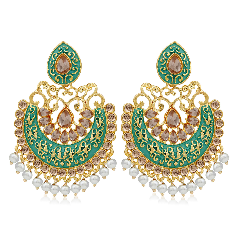 SUKKHI   Sukkhi Glistening LCT Gold Plated Pearl Meenakari Chandbali Earring For Women