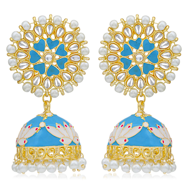 SUKKHI | Sukkhi Brilliant Pearl Gold Plated Lotus Meenakari Jhumki Earring For Women