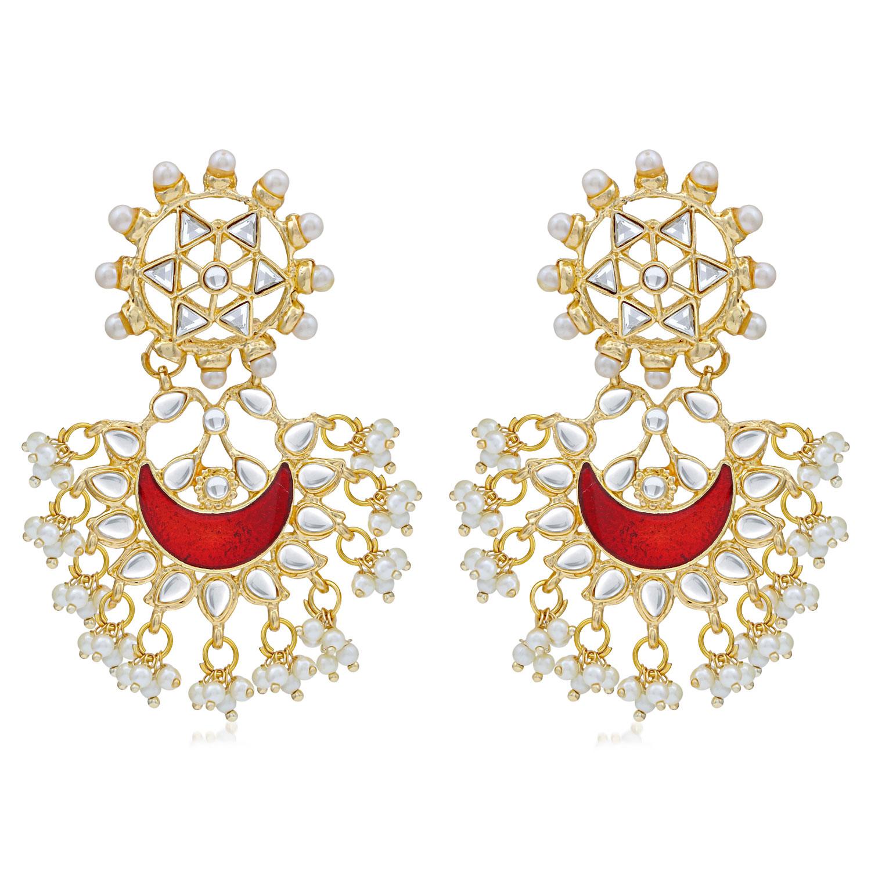 SUKKHI | Sukkhi Designer Pearl Gold Plated Kundan Meenakari Chandbali Earring For Women