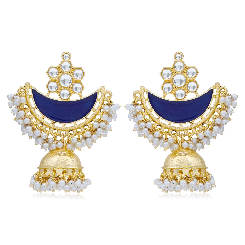 SUKKHI   Sukkhi Ravishing Pearl Gold Plated Kundan Meenakari Jhumki Earring For Women