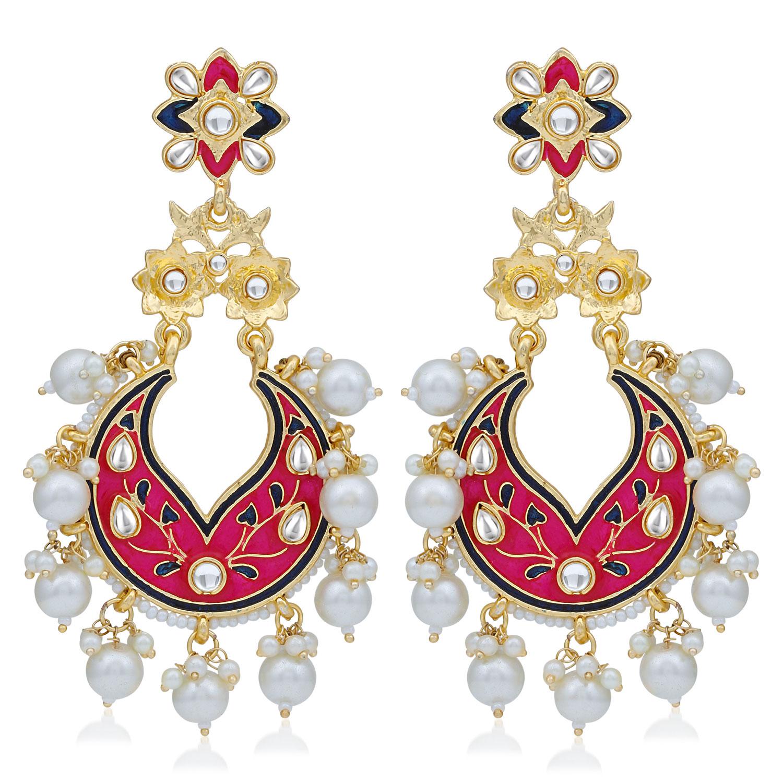 SUKKHI   Sukkhi Marvellous Pearl Gold Plated Kundan Meenakari Chandelier Earring For Women