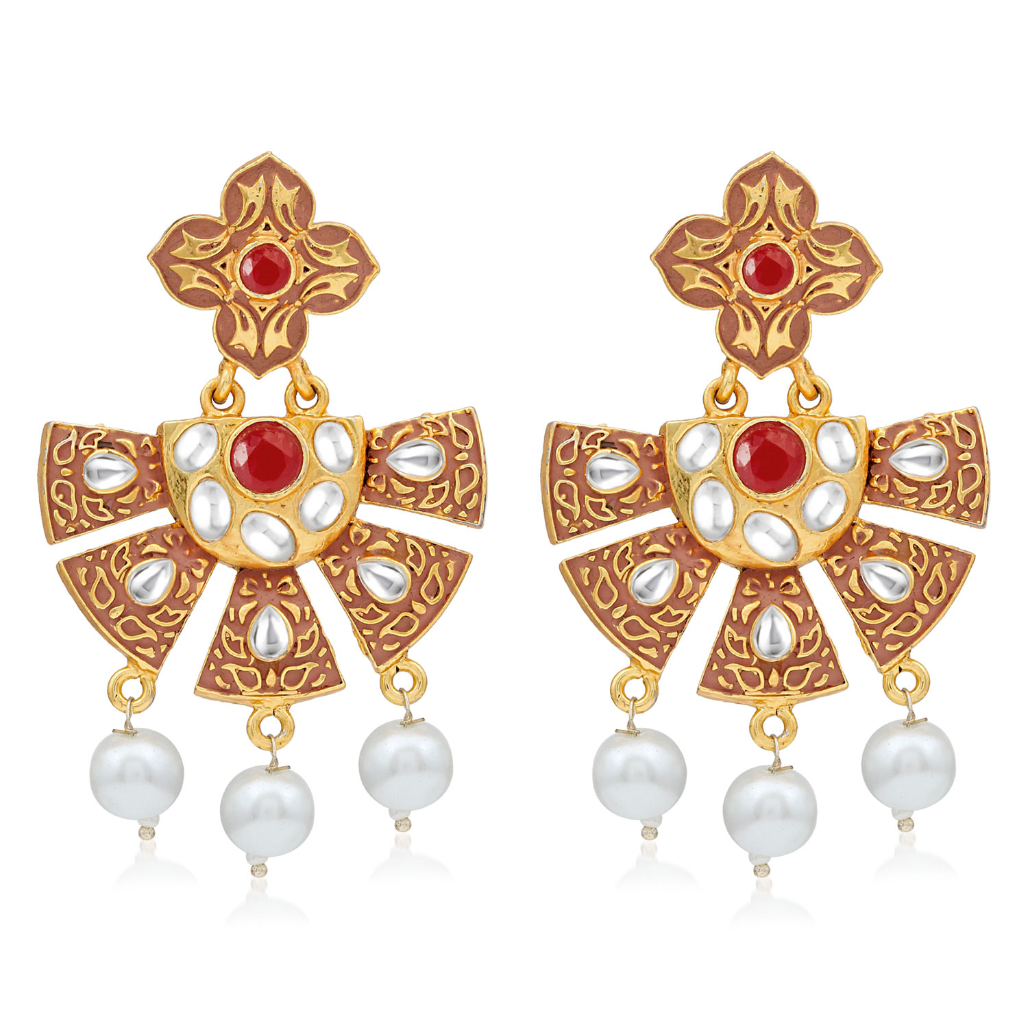 SUKKHI   Sukkhi Graceful Gold Plated Pearl Mint Collection Dangle Earring For Women