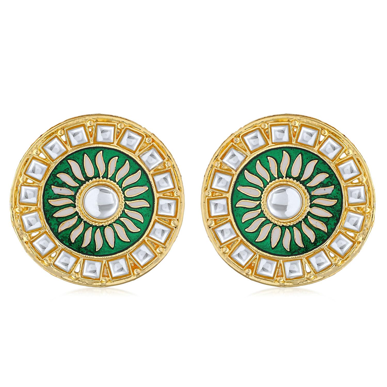 SUKKHI | Sukkhi Classic Gold Plated Kundan Meenakari Stud Earring For Women