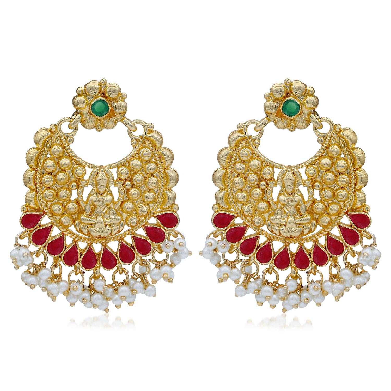 SUKKHI   Sukkhi Ethnic Pearl Gold Plated Goddess Chandbali Earring For Women