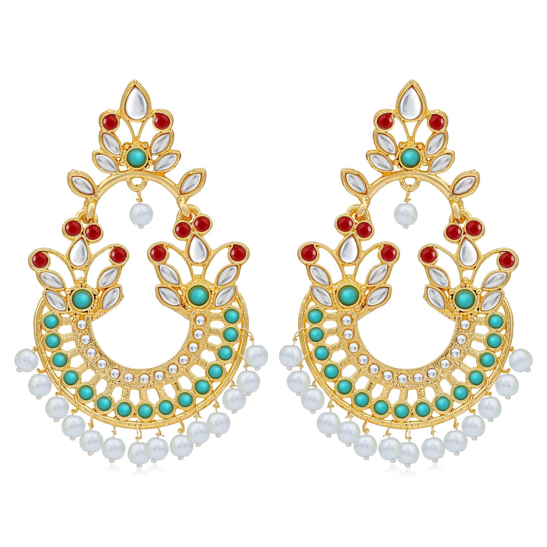 SUKKHI   Sukkhi Fancy Pearl Gold Plated Kundan Chandbali Earring For Women