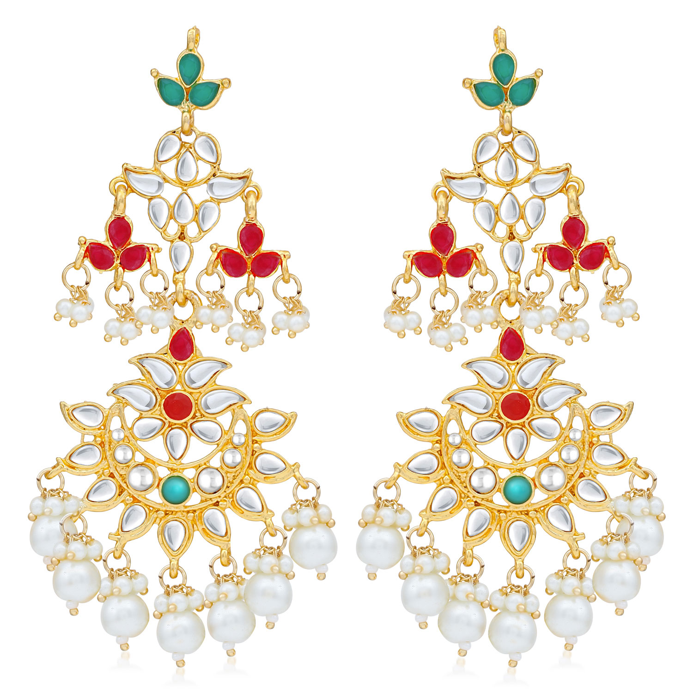 SUKKHI   Sukkhi Stunning Pearl Gold Plated Kundan Chandelier Earring For Women