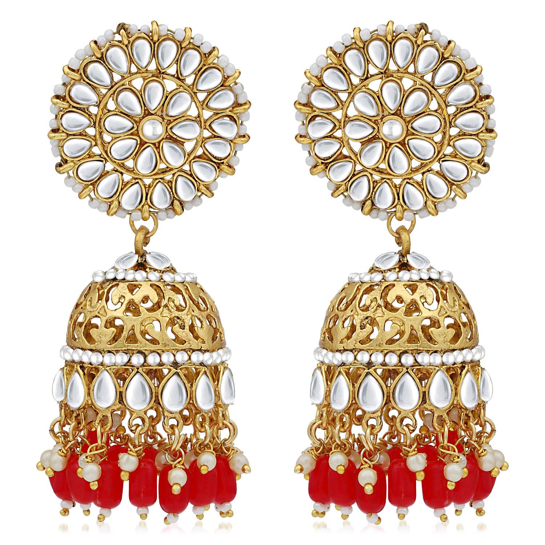 SUKKHI | Sukkhi Classic Pearl Gold Plated Kundan Jhumki Earring For Women