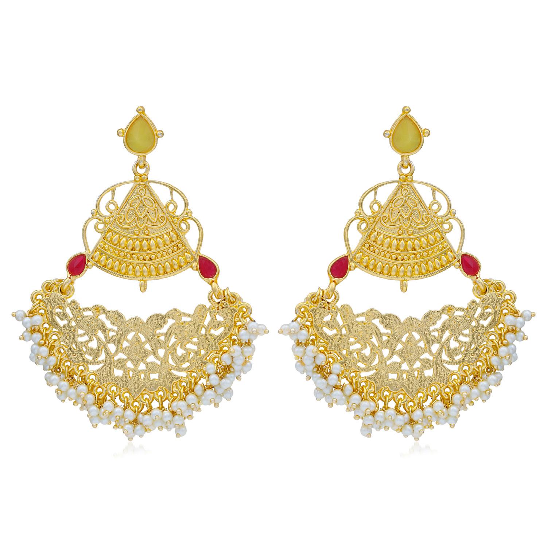SUKKHI | Sukkhi Glitzy Gold Plated Pearl Dangle Earring For Women