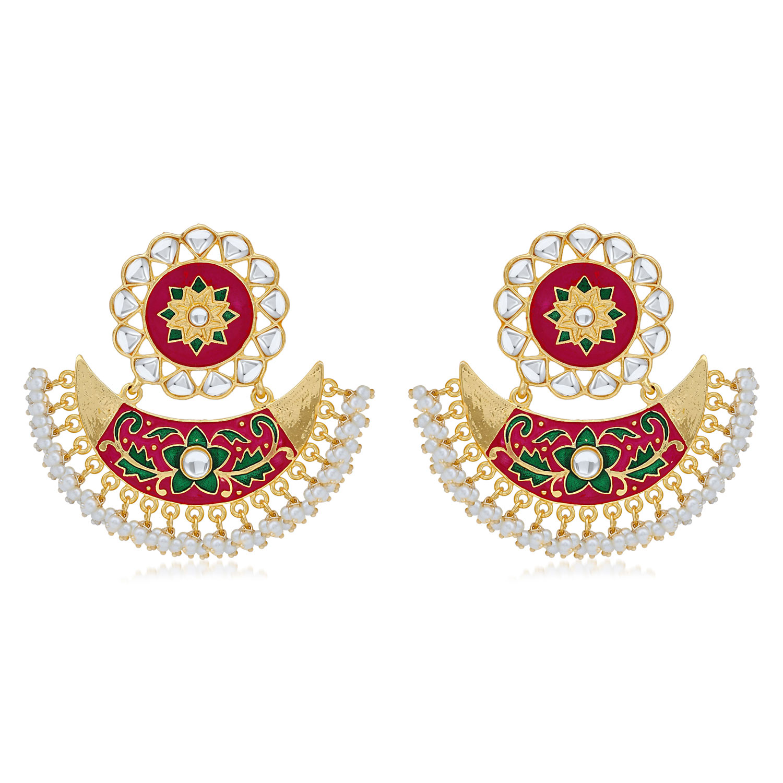 SUKKHI | Sukkhi Incredible Pearl Gold Plated Kundan Floral Meenakari Chandbali Earring For Women