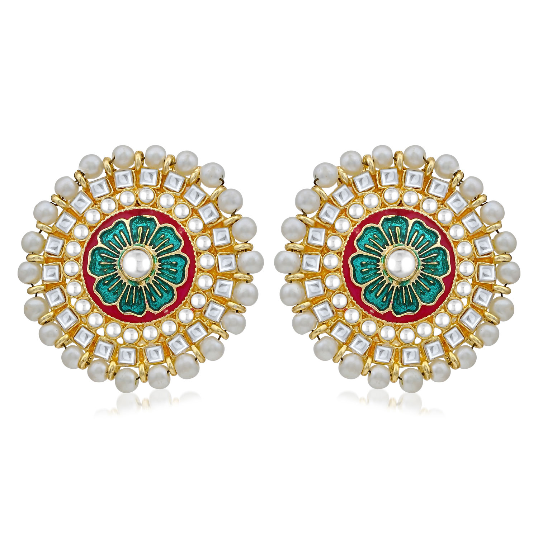 SUKKHI | Sukkhi Traditional Pearl Gold Plated Kundan Meenakari Stud Earring For Women