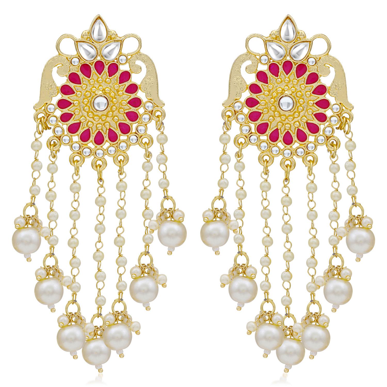 SUKKHI | Sukkhi Modern Kundan Gold Plated Pearl Dangle Earring For Women